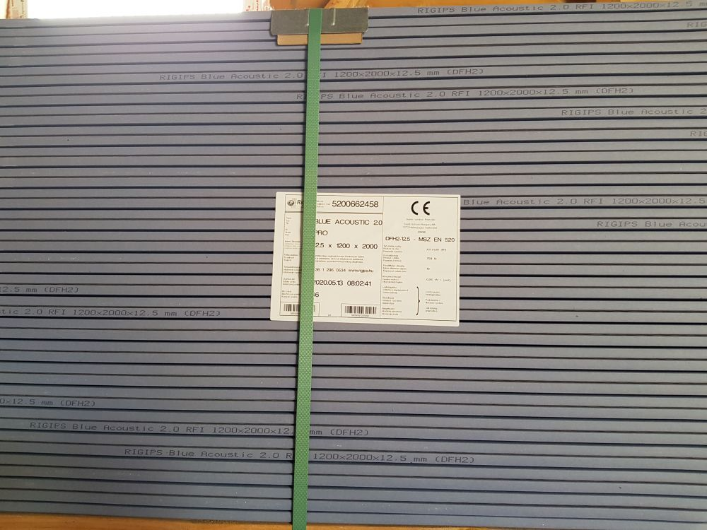 GK tábla hang-tűz-imp. BlueAcoustic RFI 12,5mm - Rigips (2,4 m2/tábla) BAUplaza Kft.