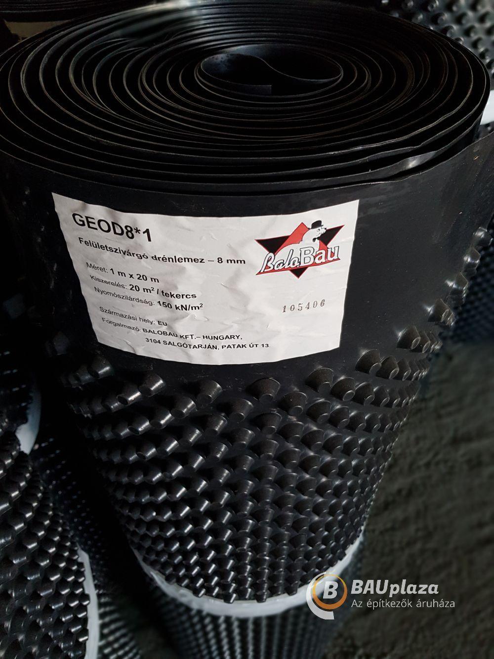 Felületszivárgó lemez 8 mm 1x20m 20 m2/tek. 400g/m2 (drénlemez) BAUplaza Kft.
