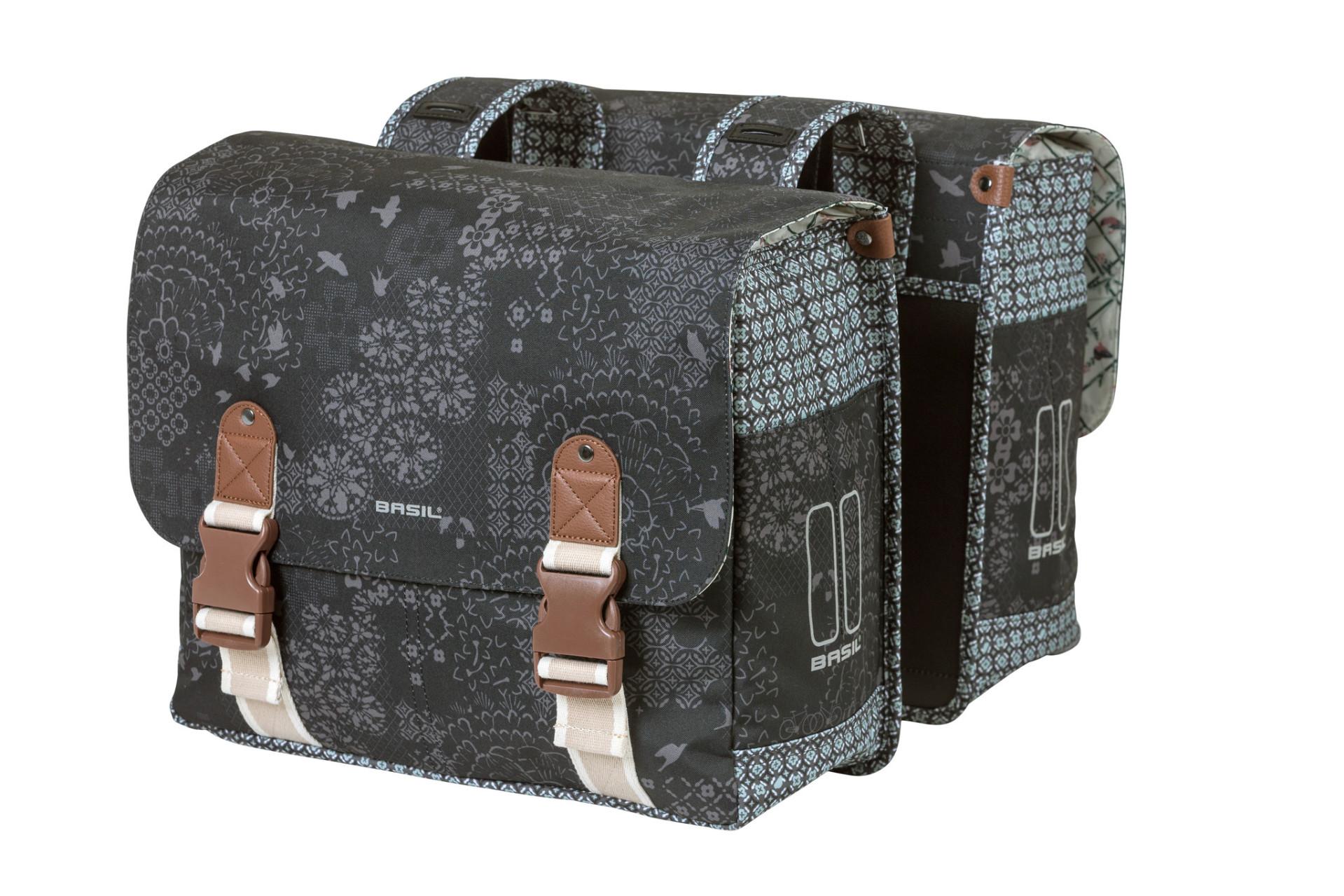 Basil BOHEME Double táska csomagtartóra - szénfekete (adapter nélkül)