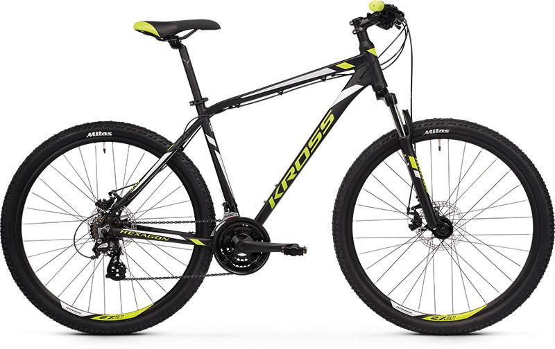 """KROSS HEXAGON 3.0 férfi 26"""" MTB kerékpár - fekete/lime - XS (2020)"""