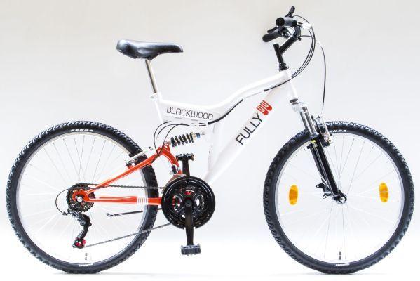 Csepel BlackWood Fully 26 fiú kerékpár - fehér/narancs