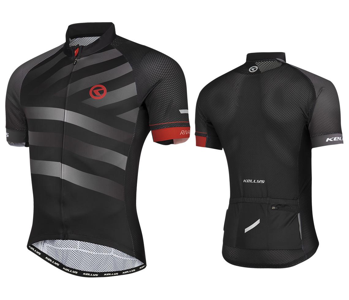 KELLYS Rival rövid ujjú kerékpáros mez - fekete/szürke - L