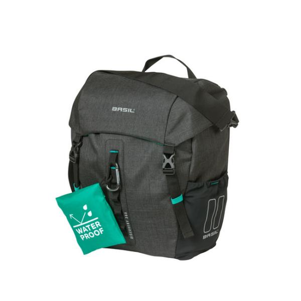 Basil Discovery 365D Double Bag Hook ON egy oldalas táska csomagtartóra - szürke - M